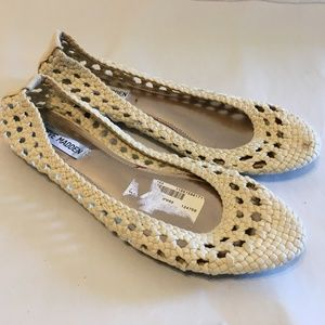 "Size 8.5 ""Helena"" Beige Woven Knit Flats Shoes"